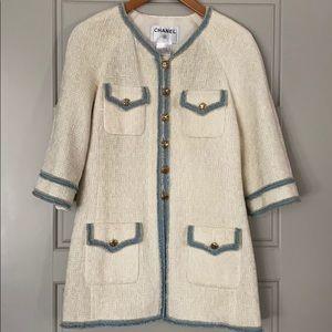 Authentic Vintage CHANEL Blue & Cream Tweed Jacket